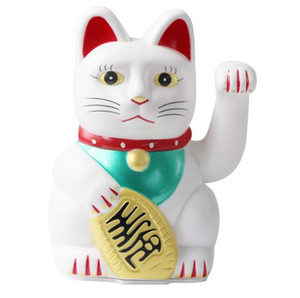"6"" Maneki Neko Lucky Cat Waving Arm by AA Battery Chinese Feng Shui Ornaments Business gift Beckoning Wealth Fortune Decor Home Plastic Toy"