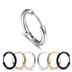 Wholesale E Titanium steel Men s Smooth Hoop Earrings Jewelry mm mm mm mm mm mm K Black White Color