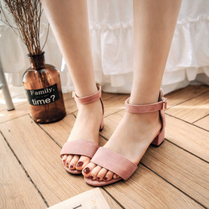 Sandals 2018 Scrub Fashion Casual New small 31 32 33 big 44 45 46 47 48 49 Woman's Shoes High Heel 4.5cm Size 30-50