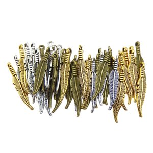 100pcs Fashion Mini Feather Charms Vintage Metal Pendant Zinc Alloy Small Feathers Charms Jewelry Pendant Charms For