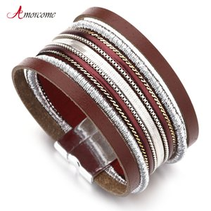 Amorcome Metal Chain Pasted On Leather Bracelets for Women Female Vintage Bohmenian Multilayer Wide Wrap Bracelet Femme Jewelry