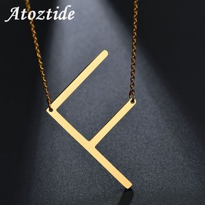 Wholesale Atoztide Customize Name Women Alphabet F Initial Necklace Stainless Steel Gold Chain Pendant Capital A Letter Necklace Ketting