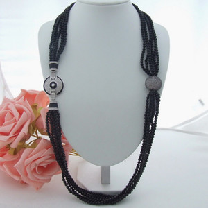 Wholesale N061503 42'' 6 Strands Black Onyx Long Necklace CZ Clasp