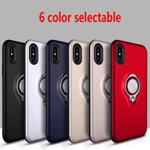 Wholesale For NEW IPHONE XR XS MAX Armor Phone cases Dual Layer With Iron Sheet Magnetic Ring Car Holder Magnetic Bracket Ring Cases