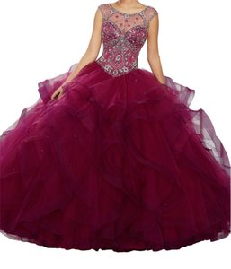 Quinceanera Dresses Heart-shaped collar, hot skirt, lotus leaf wrapped elastic net, tail back tie, round collar, net design, cheap postage.