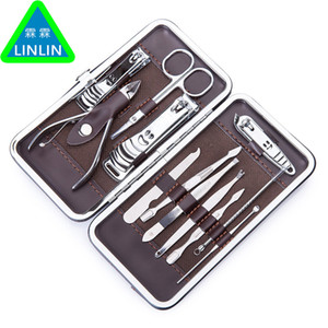 Wholesale LINLIN Stainless Nail Kit Nail Clipper Nipper Cutter Scissors Tweezers Ear Pick Pedicure Manicure Set Nail Art Tools D18111503