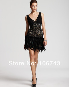 Wholesale dress with fringes new low back short lace NEW SUE WONG BEADED LACE AND FEATHER S STYLE COCKTAIL DRESS