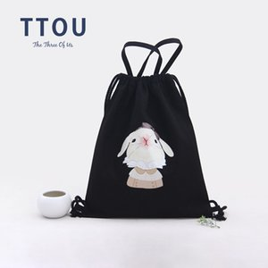 Wholesale TTOU Women Cute Canvas Backpack Casual Printing Backpack Drawstring for Teenager Girls