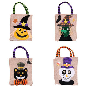 Wholesale New Creative Christmas Gift Bags Halloween Decoration Linen Cartoon Pumpkin Witch Tote Bag Shopping Mall Hotel Cookies Apple Gift Bag