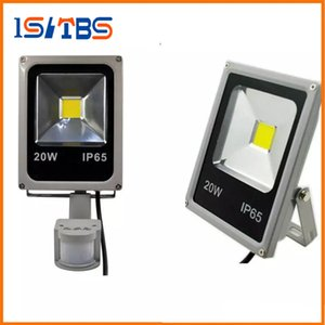 Wholesale LED Flood Lights With Sensor W W W W Motion Sensor Floodlights Pir Induction Reflector Outdoor Spotlights