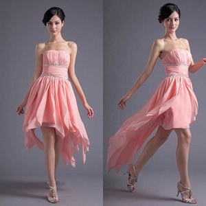Wholesale New Strapless Short High-Low Chiffon Bridesmaid Dresses Country Style Summer Maid of Honor Gowns Coral Cocktail Party Gowns Prom Wear ZPT008