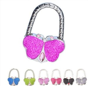 Wholesale Portable Butterfly folded Handbag Bag Hook Hanger Holder Fashion Crystal Rhinestone bag Hanger Hook Holder