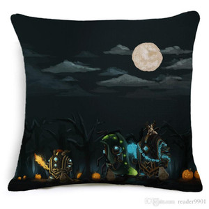 Wholesale 2018 Halloween festival Scary Cartoon creative Skull fearful printed pillow Home Sofa cushion linen cover comfortable cushion cover cm