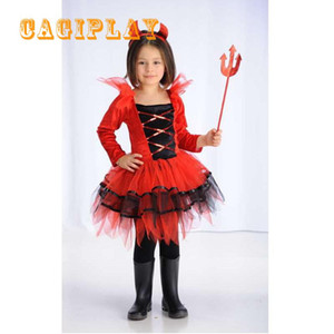 Wholesale 2018 New Kids Carnival Clothing Girls Red Devil Cosplay Princess Dress Party Vestidos Halloween Role Play Costume Age Year