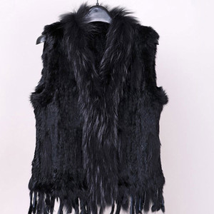 Free shipping Women's Natural real rabbit fur vest with raccoon fur collar waistcoat jackets rex rabbit knitted Spring Winter