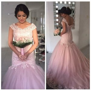 Wholesale Pretty Pink Lace Long Prom Dress 2018 Scoop Neck Cap Sleeves Appliqued Beading Sequined Mermaid Dresses Party Evening