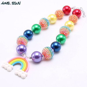 Wholesale Lovely Rainbow Color Baby Kid Chunky Necklace Fashion Rainbow Pendant Bubblegum Bead Chunky Necklace Girl Children Jewelry