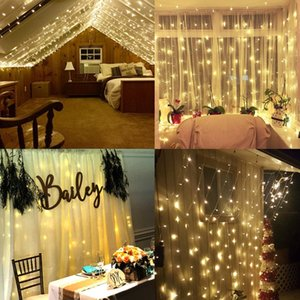 NEW 3M x 3M LED Window Curtain String Fairy Lights Curtain Garlands Strip Party Lights For Wedding Wall Decoration Wedding Party Home Garden on Sale