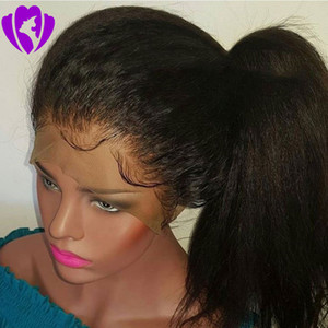Wholesale Pre Plucked Lace Front synthetic Wigs With Baby Hair Brazilian full lace front Italian Light Yaki Straight Wigs