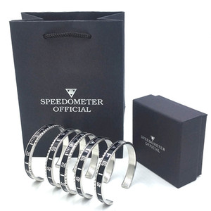 Wholesale High quality Bangle Bracelet for Men Stainless Steel Cuff Speedometer Bracelet Fashion Men s Jewelry with Retail packaging box