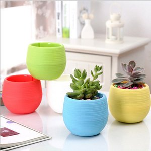 Wholesale Mini Round Plastic succulent Plant Flower Pot Garden Home Office desktop Decor Micro Landscape Planter unbreakable flowerpot