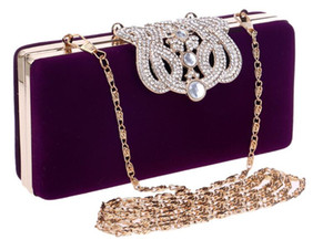 Wholesale colours diamonds resale online - Diamond Europe and the United States Suede Clutch Multiple Colour Silver plated Banquet Bride Evening Bag