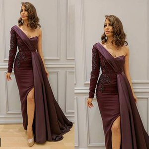 Burgundy Prom Dresses One Shoulder Long Sleeve Lace Appliques Sashes Beading Sequins Wine Red Arabic Long Evening Dresses Gowns on Sale