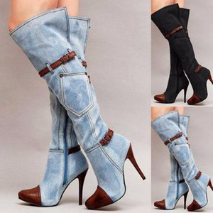 Wholesale Women Stretch Slim Thigh High Boots Sexy Fashion Over The Knee High Heels Shoes Buckle Belt Stiletto Heel Winter Boots DA220