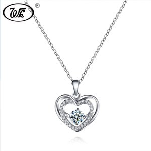 Wholesale WK Beautiful Love Heart Pendant Silver Necklace For Women Ladies Elegant Charm Jewelry Gift Inch Link Chain Collares SW NZ048