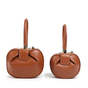 Round Bag Women Genuine Leather Evening Party Totes Bag New Vitnage Brand Handbags Black Brown Beige White Drop Shipping E148