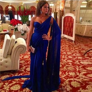 2019 Dubai Royal Blue Party Dresses Long One Shoulder Chiffon Long Formal prom party Gown on Sale
