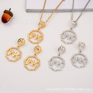 Wholesale Europe and the United States fashion necklace pendant earrings full drill MK letter octagonal round two piece diamond jewelry lx