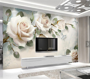 European Wallpaper White Rose Flower Mural Photo Wallpapers Living Room Wall Paper 3D papel pintado pared rollos papel de parede on Sale
