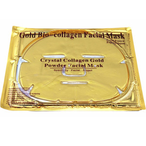 24k gold kollagen gesichtsmaske großhandel-24k Gold Bio Kollagen Gesichtsmaske Gesichtsmaske Crystal Gold Powder Collagen Gesichtsmasken Feuchtigkeitsspendende Anti Aging Beauty Produkte