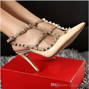 Wholesale 2017 Designer women high heels party fashion rivets girls sexy pointed shoes Dance shoes wedding shoes Double straps sandals