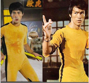High quality Genuine Bruce Lee Jumpsuit yellow tracksuit kungfu training clothes classic nunchukus jeet kune do uniform