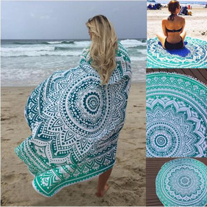 Hot Sell Chiffon Round Beach Towel Bohemia Style Sunbath Beach Blanket 150 cm Yoga Mat Throw Tapestry Hippy Boho Tablecloth on Sale