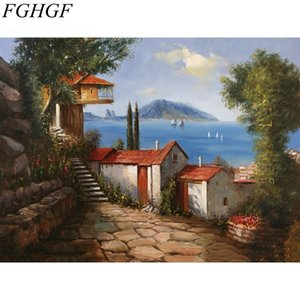 Wholesale FGHGF Pictures Painting By Numbers Scenery Digital Oil Acrylic Canvas Painting Abstract On Canvas Landscape DIY By Numbers