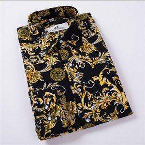 Wholesale Hot Sale Size: M-4XL   2018 New Fashion Floral Print Slim Fit Shirts Men's Long Sleeve Casual Dress Shirts 19 Colors Y1892102