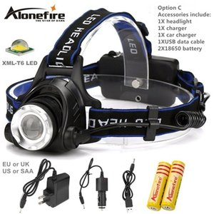 Wholesale AloneFire HP79 CREE XM L T6 LED Lumens zoom Rechargeable Headlight LED Headlamp CREE For car charger AC Charger