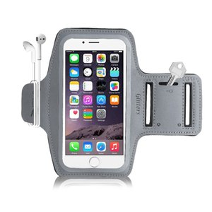 Wholesale 5 Inch Sports Armband for iPhone S C SE Galaxy S2 s3 s4 s5 Reflective Elastic Band Earphone Winder