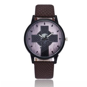 2018 Fashion New Arrival Trendy Simple Men Quartz Watch Leather Strap Cross Human Ghost Head Clock Jewelry Gift For Men