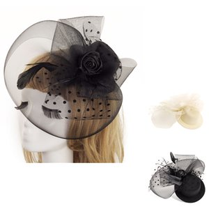 Wholesale YOUYEDIAN New Fashion Wedding Women Fascinator Penny Mesh White Black color Hat Ribbons And Feathers Party Hat