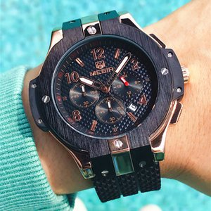 MEGIR Chronograph Sport Watch Men Creative Big Dial Army Quartz Watches Silicone Band Male Clock Hour Relogio Masculino