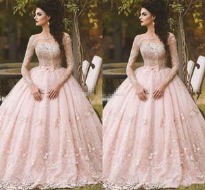 Wholesale Gorgeous Pink Beautiful Ball Gown prom Dresses Sheer Long Sleeve Puffy Organza floor length Formal Arabic Evening Dress 3d Floral lace dubai