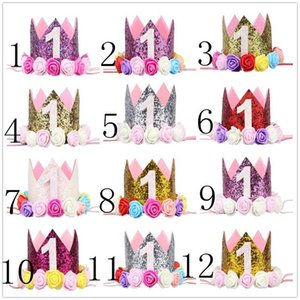 Wholesale 1st Baby Girls Birthday Hat Kids Flower Princess Crown Headband Birthday Party Decors Number Baby Kids Hair Accessory