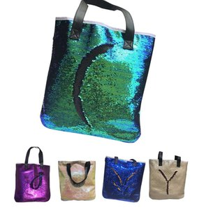 Wholesale Mermaid Sequin Bags Double Color Reversible Glitter Sequins Totes Glow Shoulder Bags