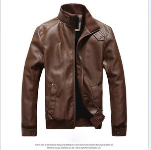 Men's New Arrive Brand Outerwear Motorcycle Leather Jacket Men, Jaqueta De Couro Masculina Mens Leather Windbreaker Jackets Coats on Sale