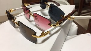 Wholesale Rimless Luxury Sun Glasses Buffalo Horn Glasses with Wood Frame Legs Mens Womens Sunglasses for Brand Designer Best Quality with Box