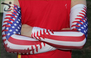 US flag with baseball Compression Elbow Arm Sleeves baseball sleeve Bike Golf live and die Arm Sleeve Cover Warmers UV Sun Protection sleeve